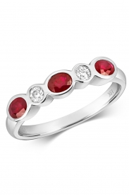 18CT Ruby Rubover Eternity Diamond Ring