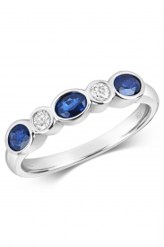 18CT Sapphire Rubover Eternity Diamond Ring