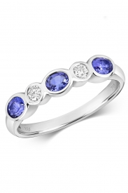 18CT Tanzanite Rubover Eternity Diamond Ring